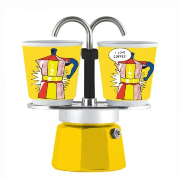 Cafetera Set Mini Express Lichtenstein Amarilla BIALETTI