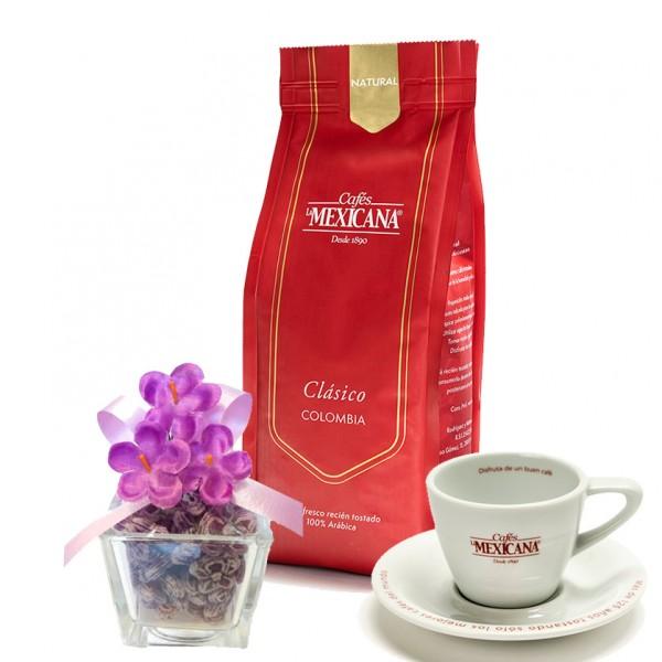 Vasito caramelos La Violeta + café + taza espresso