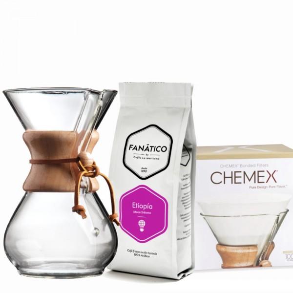 Pack Chemex + Café Etiopía + 100 Filtros