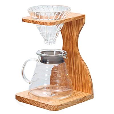 Cafetera v60 de madera de olivo